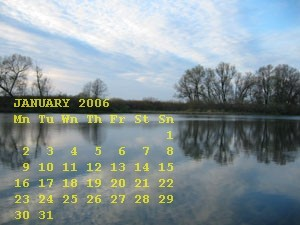 Adding January 2006 calendar on digital photo. January 2006 default watermark settings.